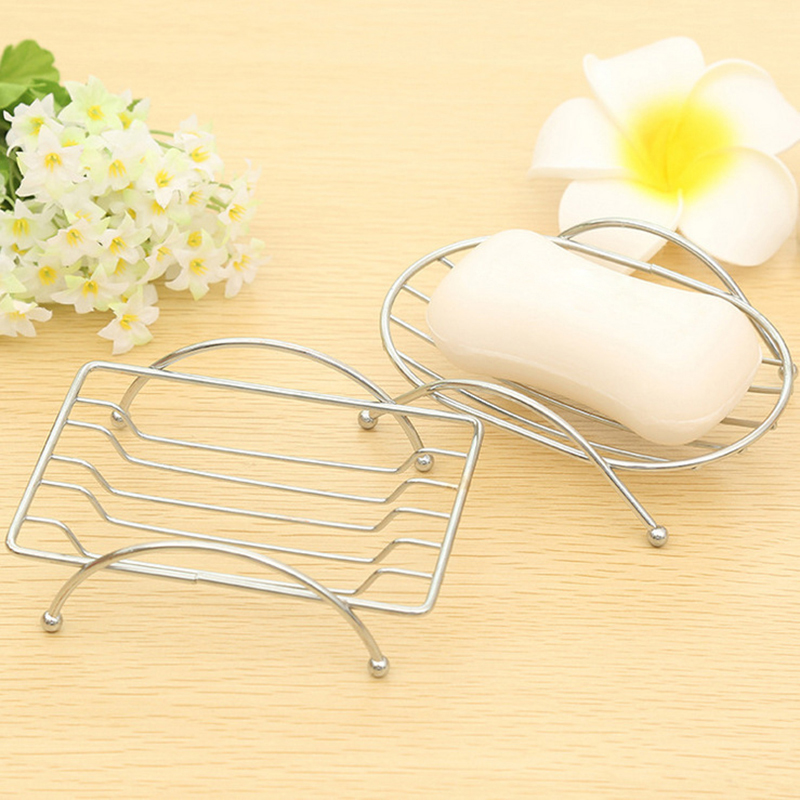 Multifunction Stainless Steel Soap Box Stand Holder Bathroom Dishes Storage Rack