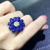 Flower Type Natural real blue sapphire ring 18K White Gold sapphire Ring Fine handworked jewelry Finger rings