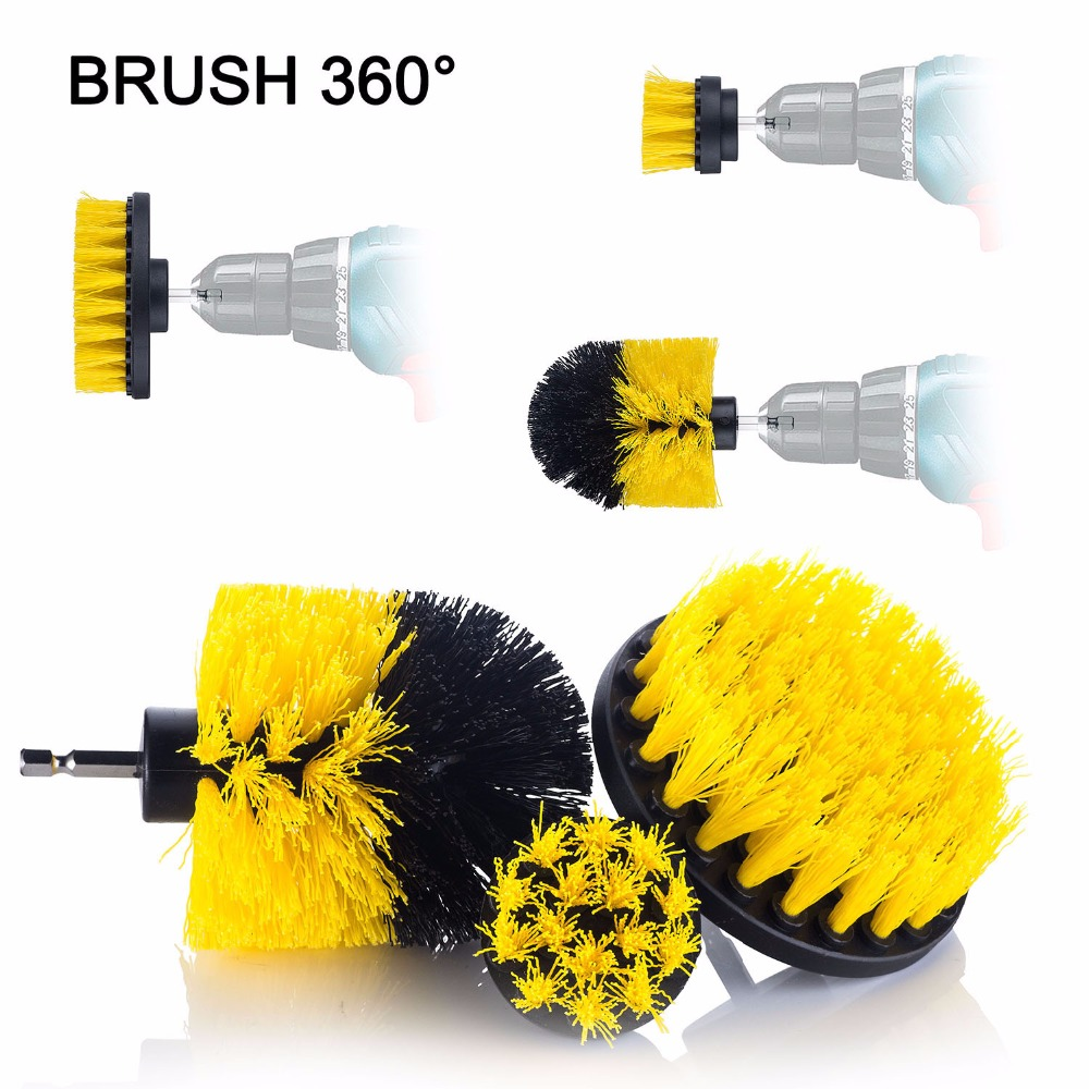 Yijinsheng 3 Piece Medium Brush Drill Attachment For Cleaning Car Tires,carpet Kitchens,bathrooms,tubs Boats Power Brushes Kit High Quality