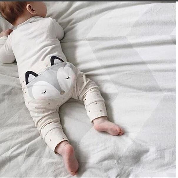 2016 SUMMER AUTUMN BABY BOY CLOTHES BABY GIRL CLOTHES KIDS FOX CARTOON PANTS VESTIDOS KIKIKIDS BOBO CHOSES