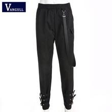 Vangull High Waist Pants Women Jogger Pants 2019 New Spring Fashion Female Side Ribbon Cargo Pants Buckle Leg Casual Sweatpants