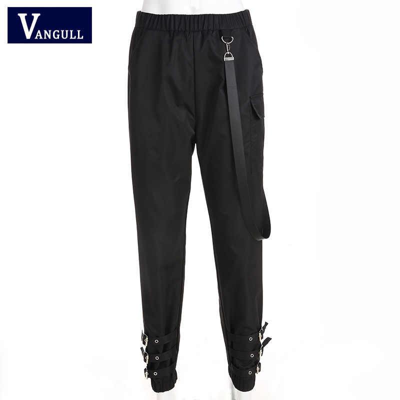 Vangull calças de cintura alta mulheres jogger calças 2019 nova primavera moda feminina fita lateral calças de carga fivela perna casual sweatpants