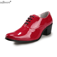 Mens Red Black White Wedding Shoes Gentsman 6cm High Heeled Glossy Leather Dress Shoes 2 3