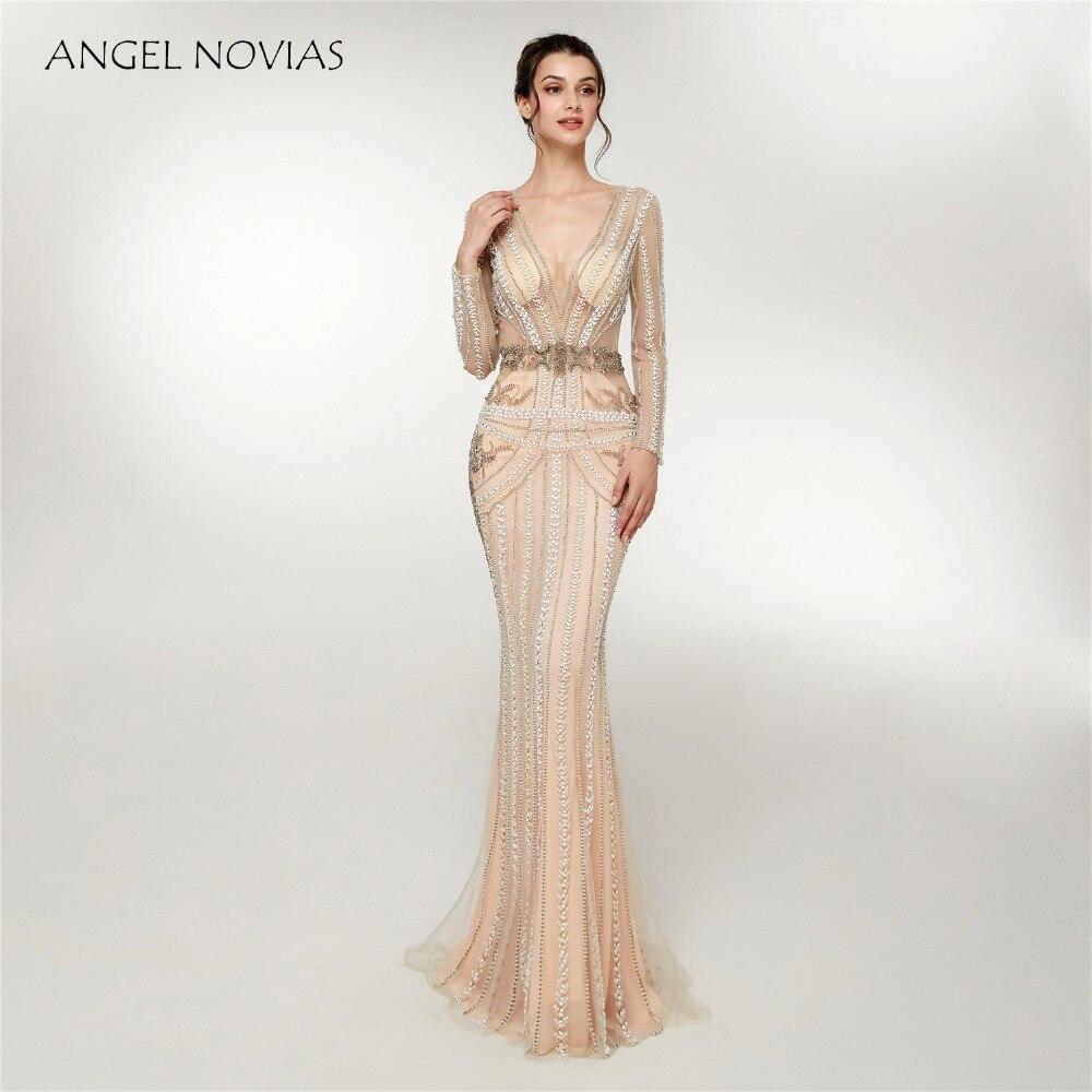 ANGEL NOVIAS Abendkleider manches longues sirène col en V perlé robe de soirée 2018 cristaux formelle robe de soirée sereine colline