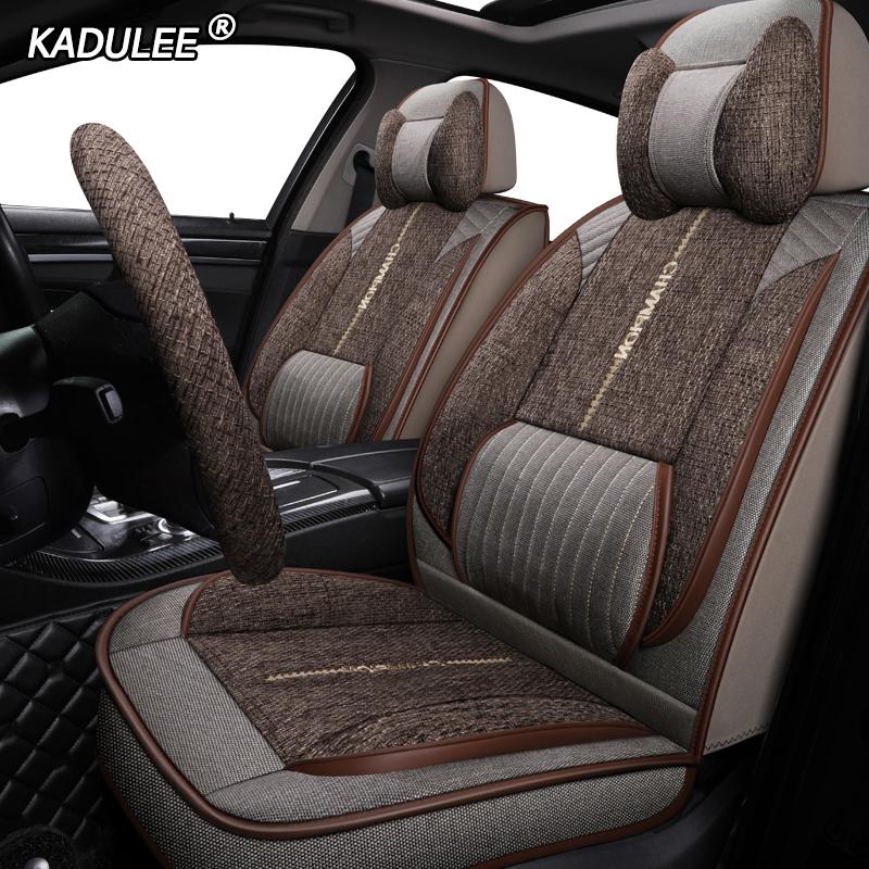 KADULEE housse de siège auto en lin pour audi a6 4f a4 a3 a5 q3 q5 q2 lada xray mitsubishi pajero skoda octavia nissan leaf sièges auto