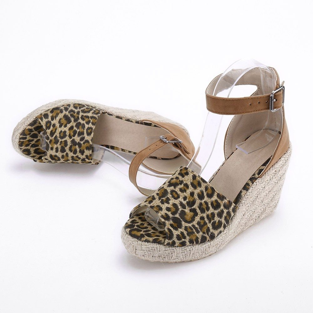 Platform-Sandals Ankle-Shoes High-Heel Leopard Womens Wedge Fashion Sweet Buckle