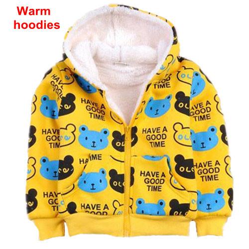 Crianças inverno hoodies meninos e meninas urso dos desenhos animados manga comprida zipper brasão jacket crianças de lã grossa camisola morna outerwear