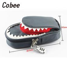 Cobee Pencil Bag Pen Holder Makeup Cute Shark Shape Cloth Statione Password lock zipper