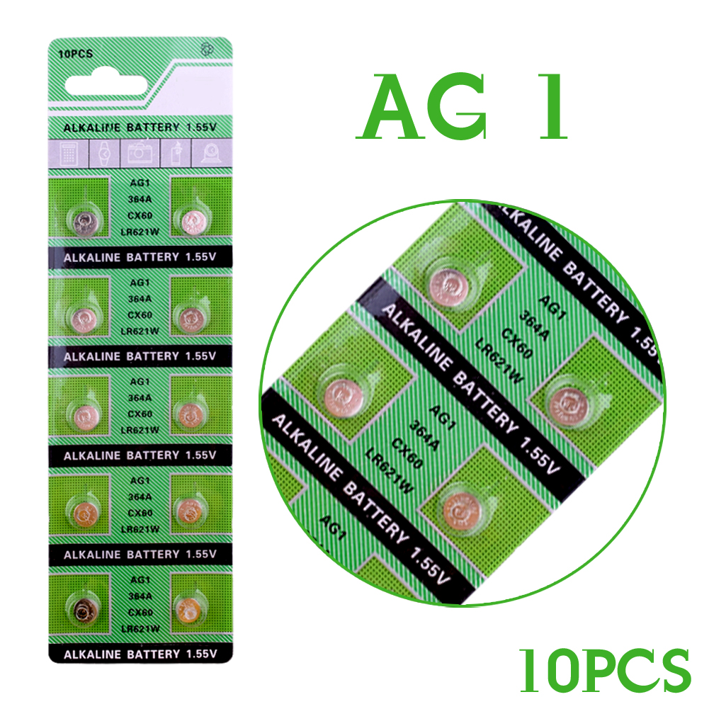 10 x AG1 Watch Battery Cell AG1 364 SR621SW LR621 621 LR60 CX60 Alkaline Battery Button Coin Cell Batteries ag11 lr721w 1 55v alkaline cell button batteries 10 piece pack