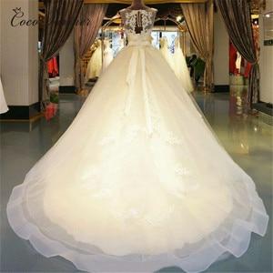 Image 2 - חלול חזרה אשליה בציר אורגנזה חתונה שמלת כדור שמלת כלה שמלה לבן ללא שרוולים משפט רכבת חתונת שמלות WX0008