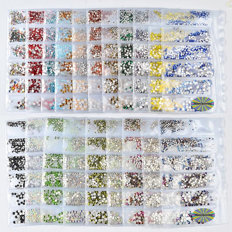 1Pack Mix SS4-SS16 Nail Rhinestones Colorful AB Crystal Glass Stones Non Hot Fix FlatBack Strass Gems Shiny Nail Art Decorations glass flatback rhinestones for nails ss4 ss20 strass crystal ab nail art rhinestones decoration set color mix 3842 4408pcs yst01