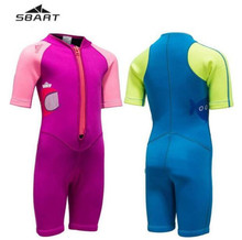 SBART  2MM Neoprene Swimsuit Kids Baby Girls Boys Wetsuits One Piece Diving Suits Snorkeling Surfing Rash Guards Children Swimwe цена и фото