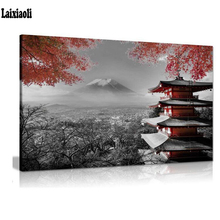5D DIY Diamond Painting Japanese Temple Autumn Black White art Red landscape Cross Stitch Mosaic diamond embroidery Needlework