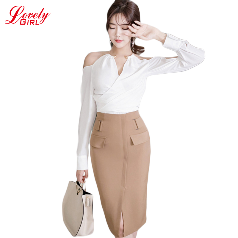 Two Piece Set Women Dress 2017 Spring New Arrival Off Shoulder Korean Style Fashion Clothing