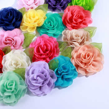 120PCS 8.5CM Big Beauty Green Leaf Chiffon Flowers For Hair Clips Petals Poppy Fabric Flower For Hair Accessories You pick Color - DISCOUNT ITEM  20% OFF All Category