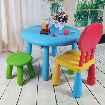 Children desk and chair of learning table. Cartoon children Pure color table