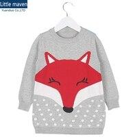 1-5Y dziewczyny zimowe swetry dziewczyna dzianiny kardigan na dziewczynę fox Dziania wzór szare swetry Sweter Ubrania Dla Dzieci dla dziewczyn