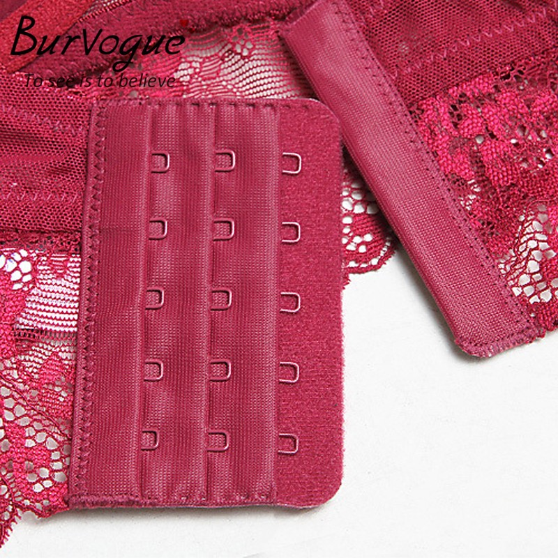 Burvogue New Lace Lingerie Bra Set Women Sexy Bra Set Push Up Bras Underwear Sets Plus size Adjustable Bras and Panties Set 7