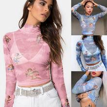Hirigin Новая модная женская прозрачная Сетчатая футболка из сетки кроп-топ с милым принтом ангела женские летние сетчатые Топы