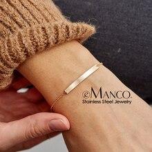 eManco Simple Geometric Name Initial Stainless Steel Bracelets for women Minimalist Bracelet