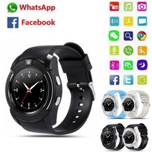New V8 Bluetooth Smart Watch 1.22'' Round Screen Support SIM / TF Card Camera SmartWatch for Android Smartphone Male Relojes(China)