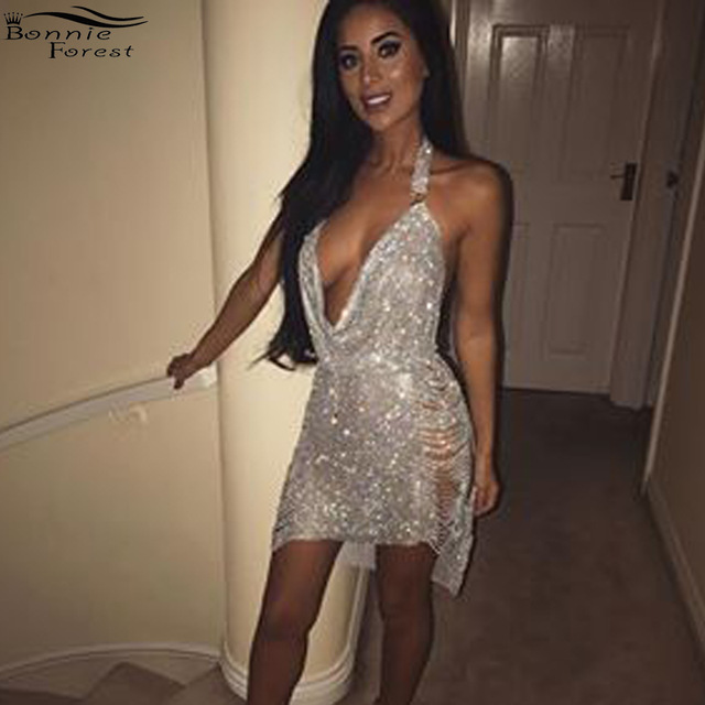 bfc0019bde73 Bonnie Forest Glitter Metal Diamonds Sleeveless Split Birthday Dress Women  Sexy Backless Deep V Neck Sequin