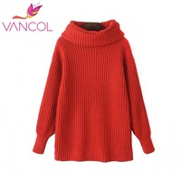 Turtleneck Sweater Vancol Women High Neck Long Sleeve Winter Thickening Warm Pullover Jumper Large Loose Knitted