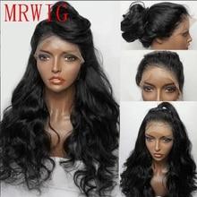 MRWIG szabad rész baba haj front csipke paróka ragasztott 1b # 2 # hosszú, test hullámos hőálló rost fekete nő