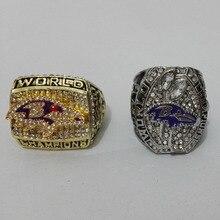 Venta directa de la fábrica Baltimore Ravens 2 unids Fans Championship anillos