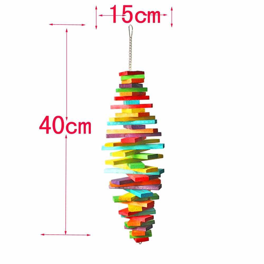 ไม้ของเล่นสีสันของเล่นขนาดกลางและขนาดเล็กนกแก้วและ big bird chew และ swing 012