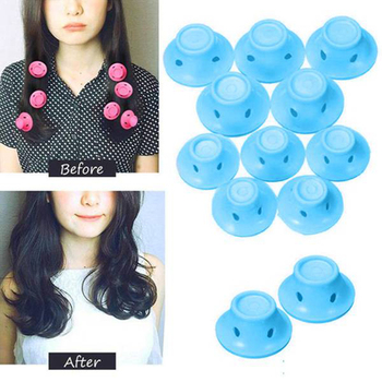 10pcs/set Soft Rubber Magic Hair Care Rollers Silicone Hair Curler No Heat Hair Styling Tool blue 1