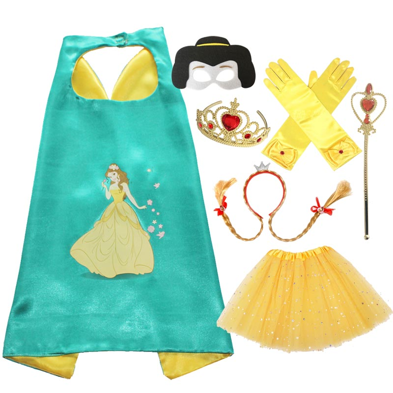 Belle Cosplay Cape Mask Tutu Tiara Wand Glove Braid for Girls Halloween Costume Christmas Costume