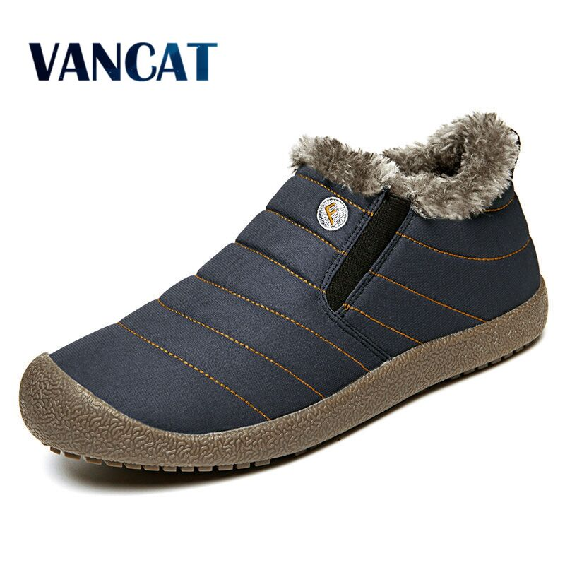 Vancat Nouveau Couple Unisexe Boot Mode Hommes D'hiver Bottes de Neige garder Au Chaud Bottes En Peluche Cheville de Neige Travail Chaussures Hommes neige Bottes 36-48
