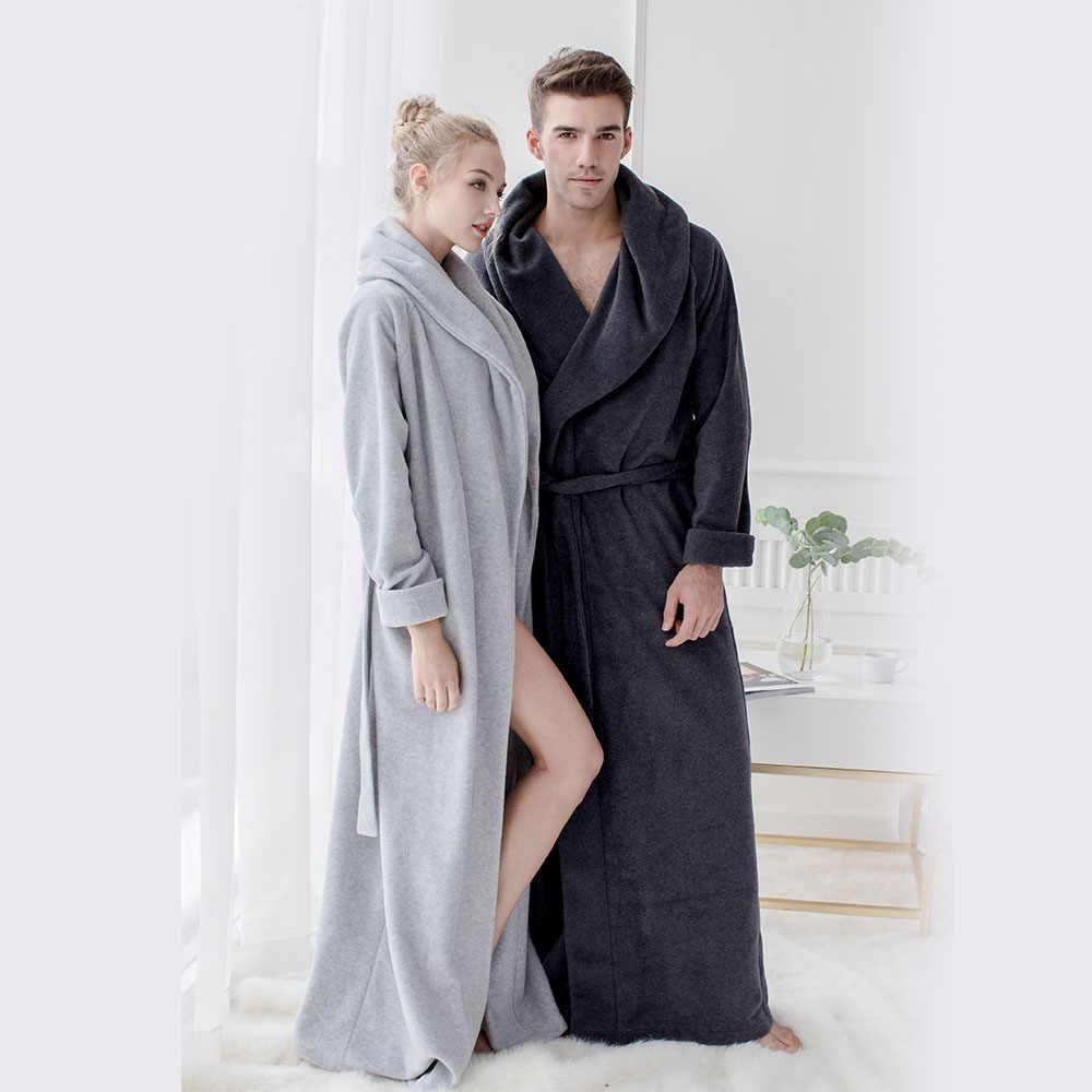 الرجال والنساء طويلة Robes الصوف طول الكلمة حجم كبير أردية حمام لينة ملابس خاصة المتسكعون فستان سهرة منامة ملابس نوم