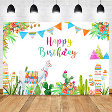 Mexican Alpaca Theme Birthday Backdrop Cactus Decoration Watercolor Background Childrens Party Photography Backdrops