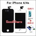 2 regalos gratis + aaa calidad lcd para iphone 4/4s pantalla digitalizador asamblea reemplazo de la pantalla negro/blanco envío gratis