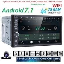 """Бесплатная Камера 2Din 7 """"Android7.1 емкостный Сенсорный экран Quadcore автомобиля NO-DVD плеер GPS навигации Bluetooth WI-FI SD/USB/ FM/AM dab +"""