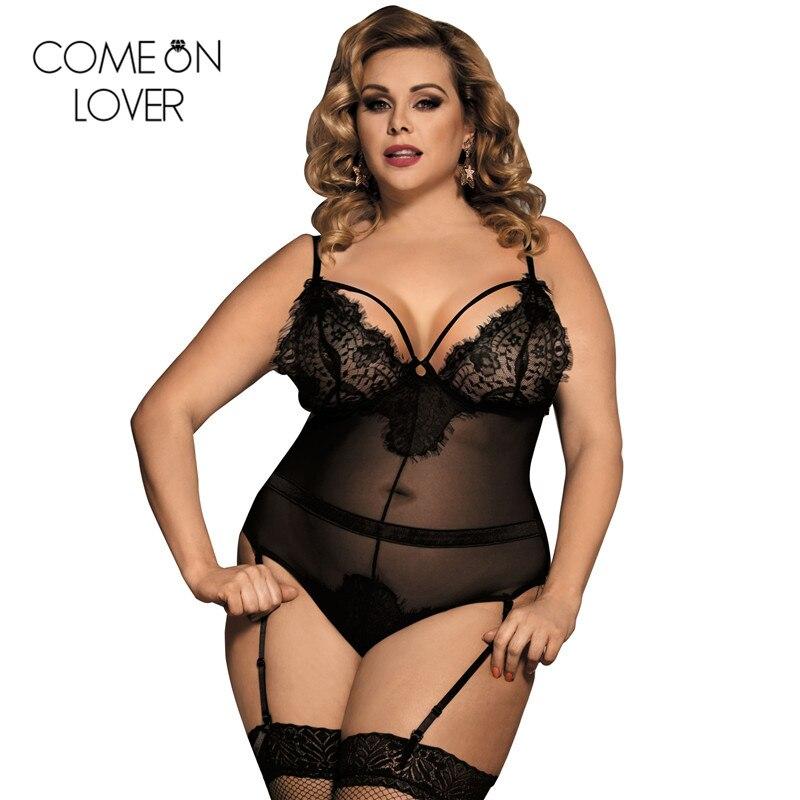 Körper femme sexy teddy sheer mesh dame body plus größe transparent sexy body spitze frauen körper anzug strampler RE80266