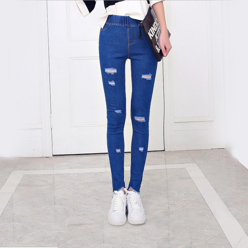 WuGe Denim Leggings Women legging Hole ripped jeans Elastic Pants Plus size leggins Irregular pencil pants Thin & Tassel