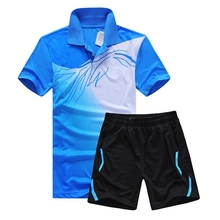 New Genuine sports series wicking breathable clothing badminton men's t-shirt table tennis clothes suit shirt + shorts