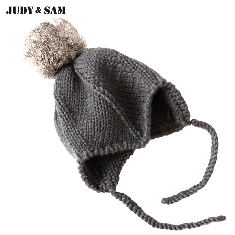 10af6903760 New Arrive 2017 Baby Wool Handmade Hat With Real Bobble Rabbit Fur Pompoms  On Top Braid Special Newborn Kids Winter Knitted Hat