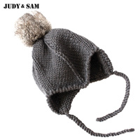 New Arrive 2017 Baby Wool Handmade Hat With Real Bobble Rabbit Fur Pompoms On Top Braid