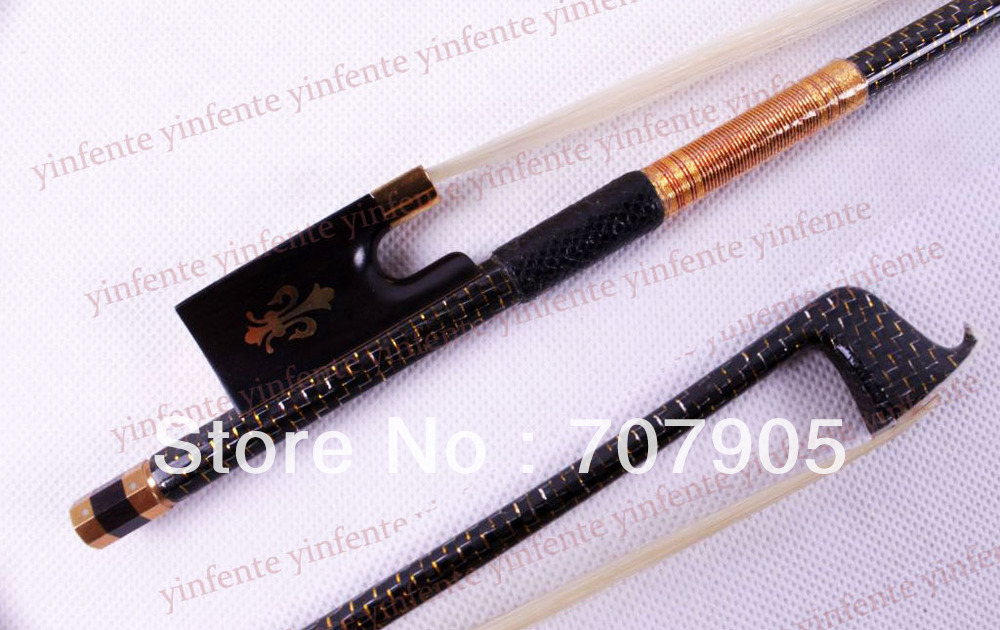 1x New Violin Bow High quality Carbon Fiber Gold Color Bow string free shipping 4 4 size 430c pernambuco cello bow high quality ebony frog with shield pattern white hair violin parts accessories