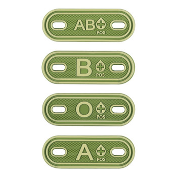 Team Sports Souvenirs 3D PVC A+ B+ AB+ O+ Positive Blood Type Group Patches Tag Tactical Military Rubber Badge Tag For Bag Shoes