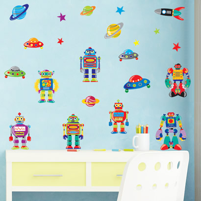 wall stickers robot boy room decorative wall stickers home