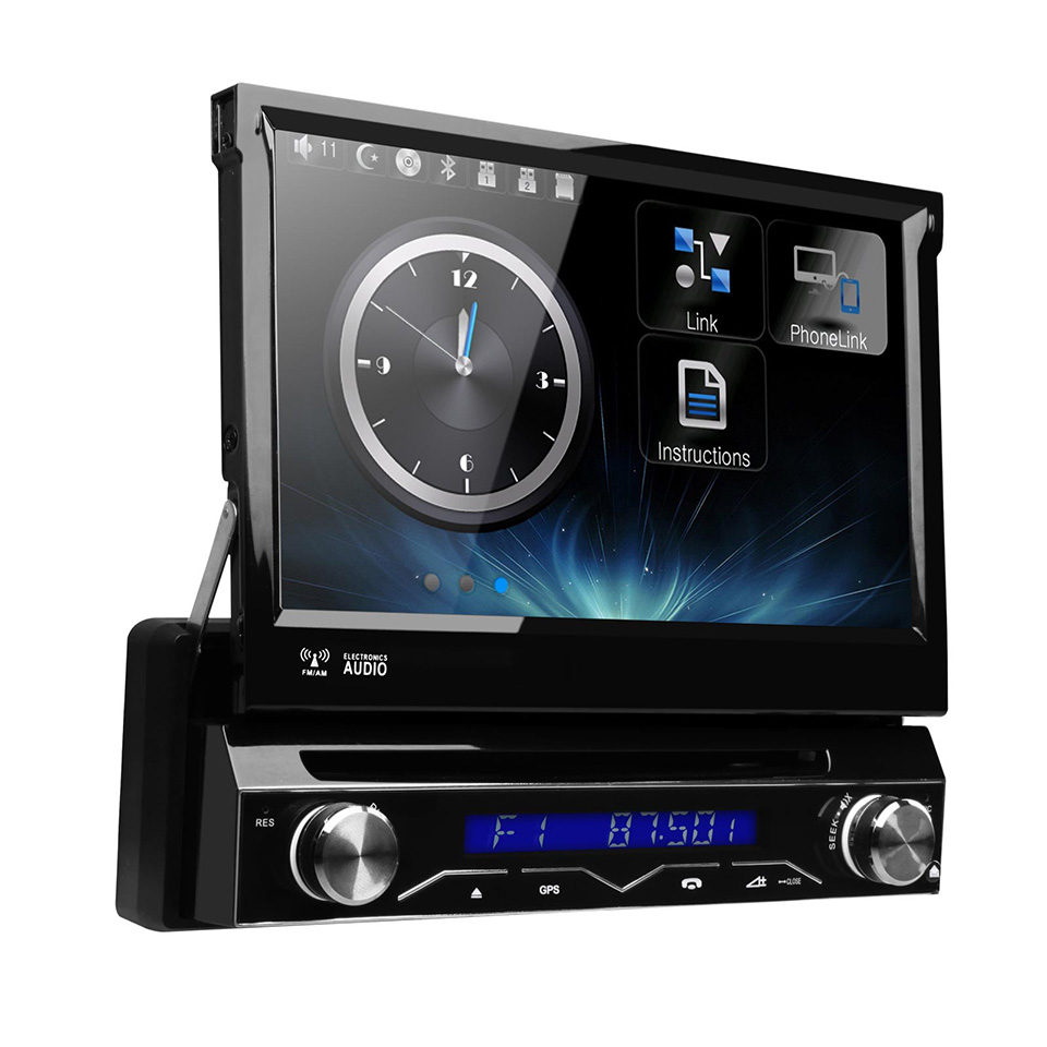 7 motorized detachable single 1 din car dvd gps touch. Black Bedroom Furniture Sets. Home Design Ideas