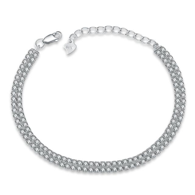 Clásico Square 1/2 diamante de la CZ fila pulseras de tenis para la mujer 925 de princesa Cut CZ joyería de la boda venta al por mayor