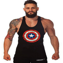 Superman Captain America Men's MuscleBodybuilding Tank Top Gold Stringer Singlet Crime Male Bodybuilding Tanks Vest