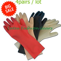 4 Pairs Set 100 Pure Latex Gloves Sexy Unisex Black Red Flesh Transparent Rubber Short Gloves
