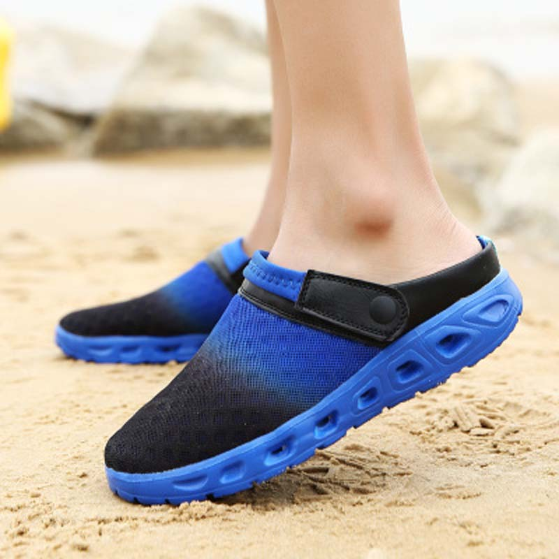 AGUTZM plus size 39-46 Men Sandals Summer Breathable Air Mesh men lighted slippers outdoor Beach mens Shoes Leisure Slippers Q42